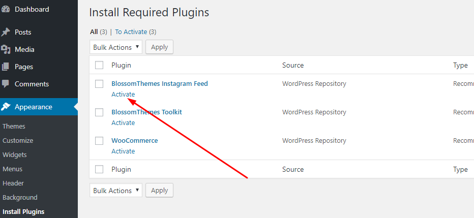 Activate recommended plugins