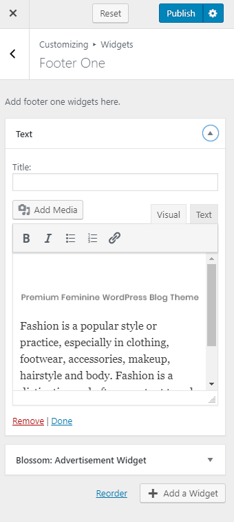 Adding widgets to footer area using customizer