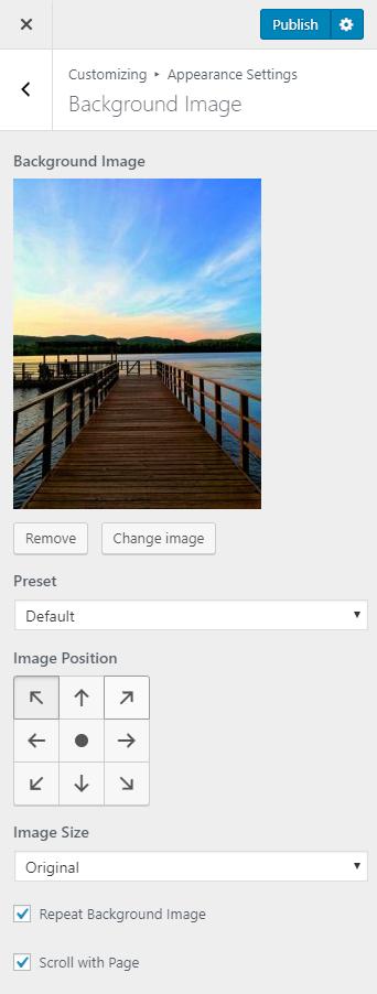 Background Image Settings