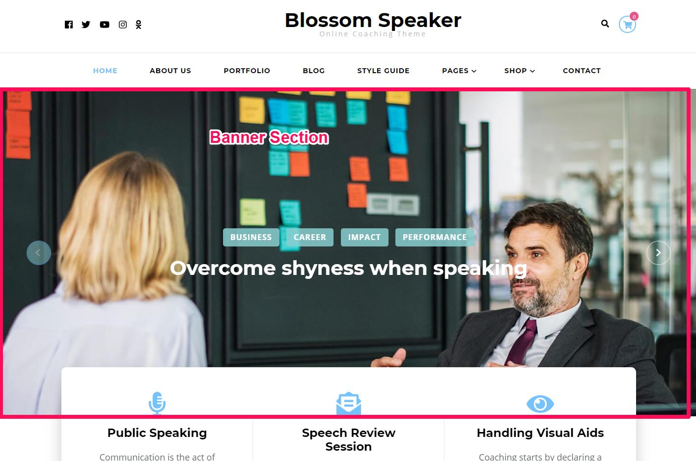 Banner section demo blossom speaker