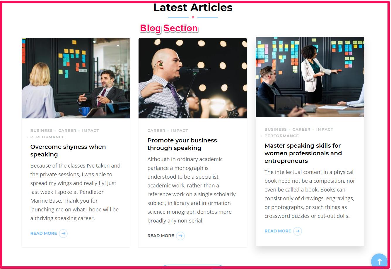 Blog section demo