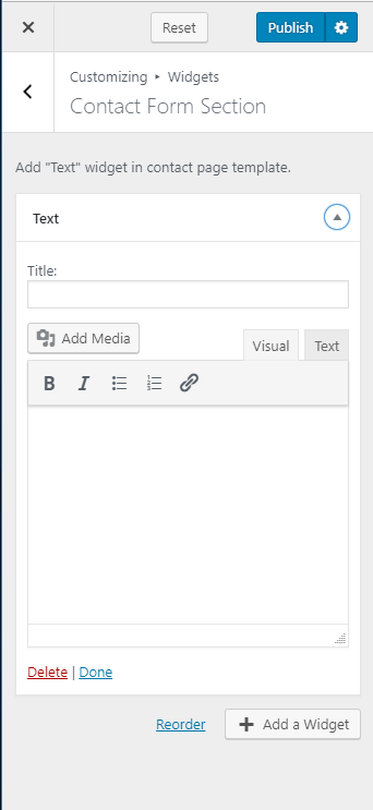 Configure Contact Form Section