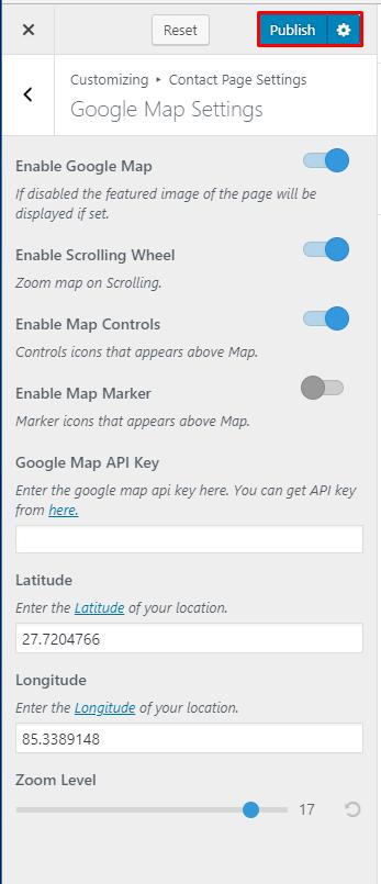 Configure Google Map Settings