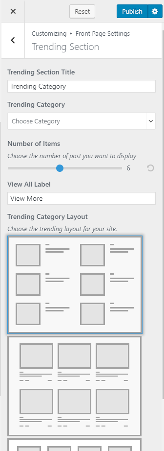 Configure Trending Section