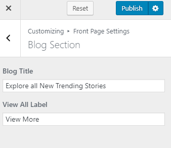 Configure blog section