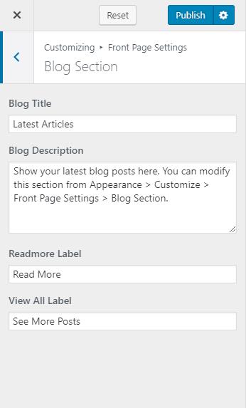 Configure blog section Blossom Coach Pro