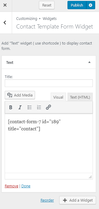 Configure contact template form widget