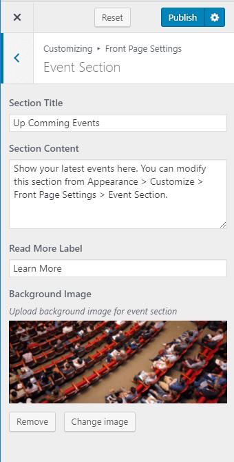 Configure event section Blossom Coach Pro