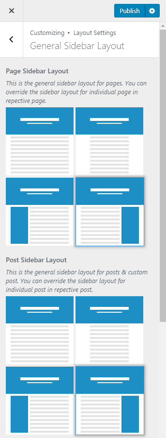 Configure general sidebar layout