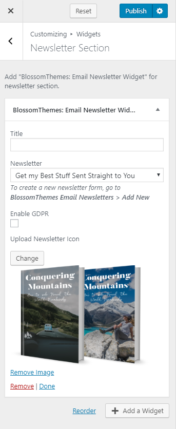 Configure newsletter section