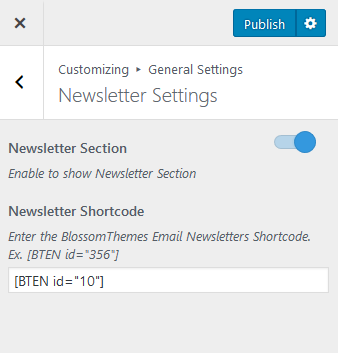 Configure newsletter shortcode