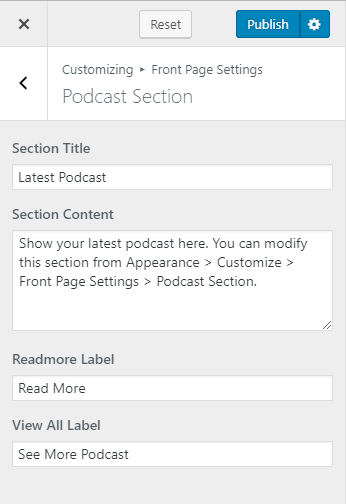 Configure podcast section blossom coach pro