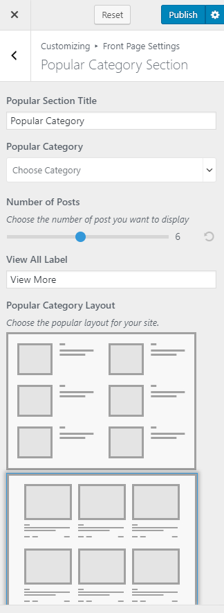 Configure popular category layout