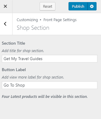 Configure shop section