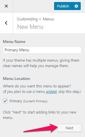 Create a primary menu