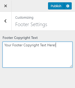 Footer copyright text