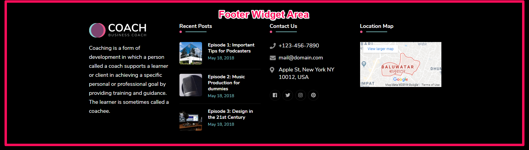 Footer widget area demo