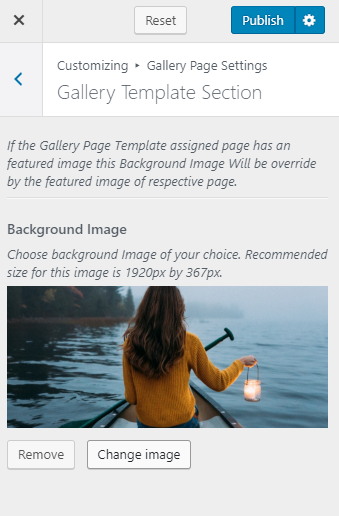 Gallery page template section