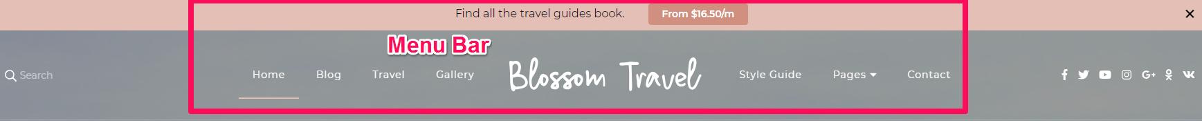 Menu Bar Blossom Travel Pro