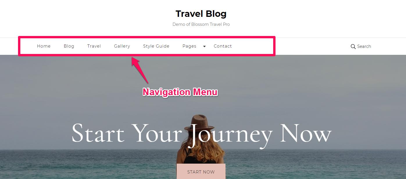 Navigation menu blossom travel
