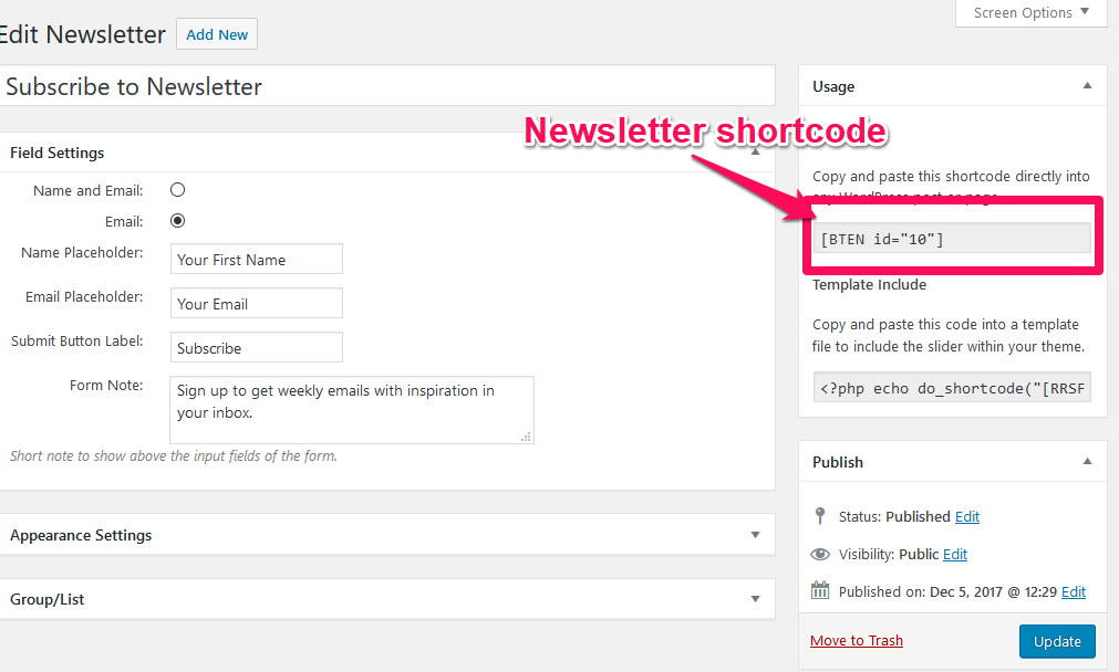 Newsletter shortcode