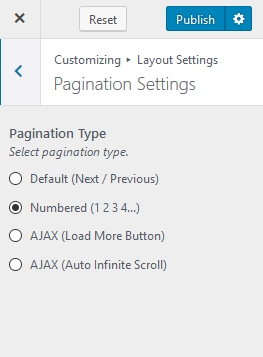 Pagination settings blossom feminine pro