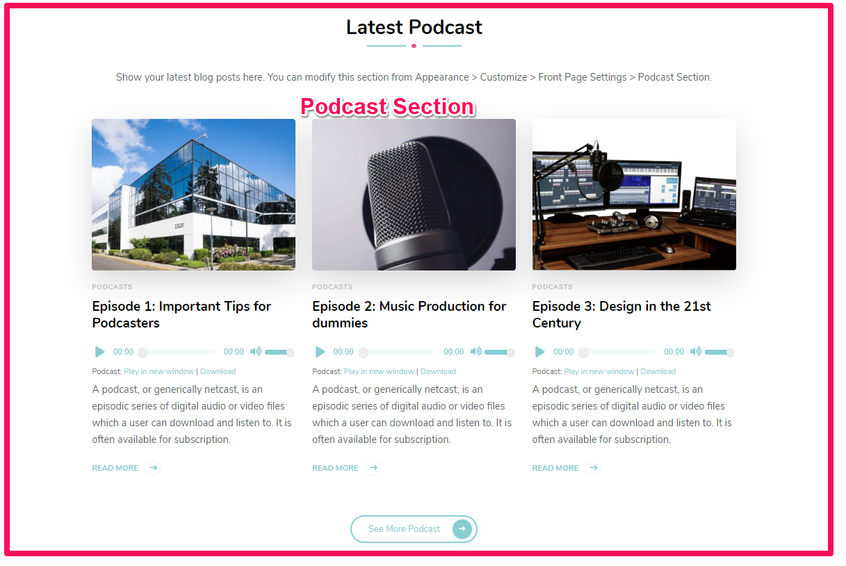 Podcast section demo