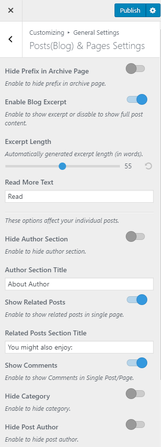 Post and blog page settings