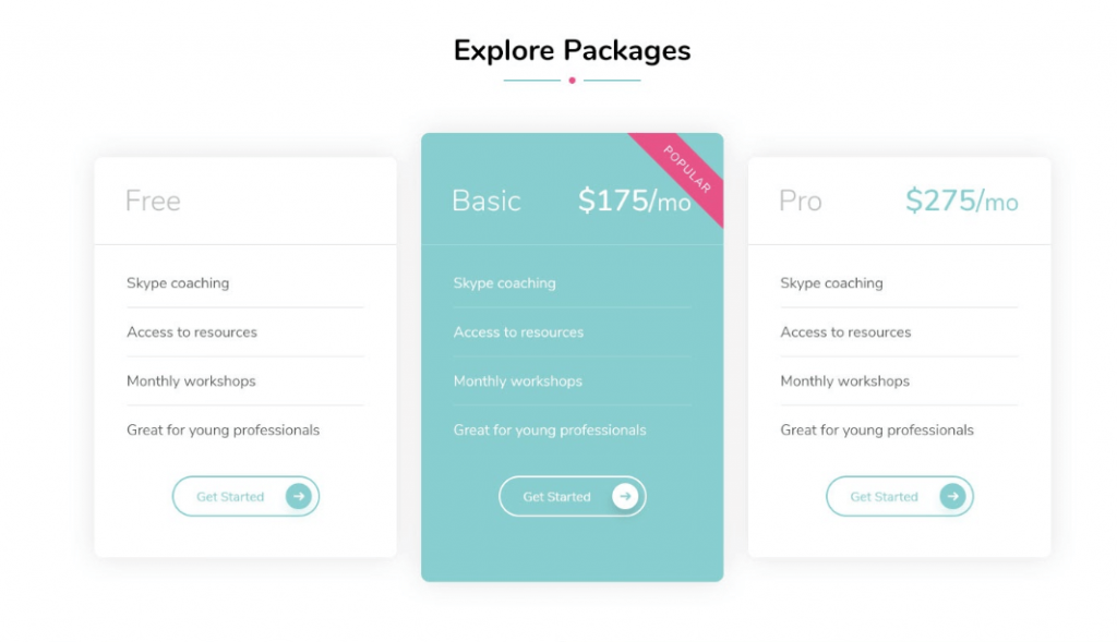 Pricing Table Section demo