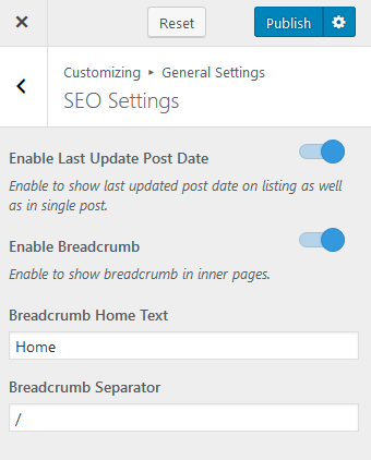 SEO Settings