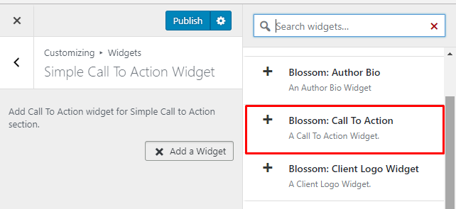 Select Blossom Call to action widget