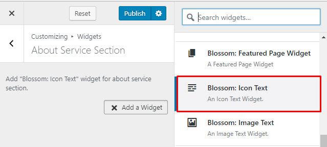 Select Blossom Icon text widget for about page
