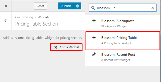 Select Blossom Pricing Table Widget