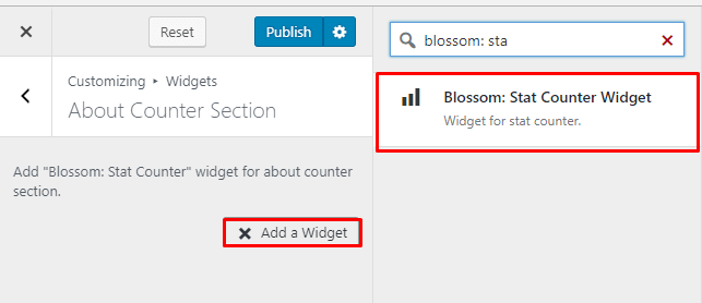 Select Blossom Stat counter widget