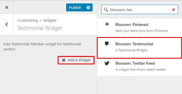 Select Blossom Testimonial Widget