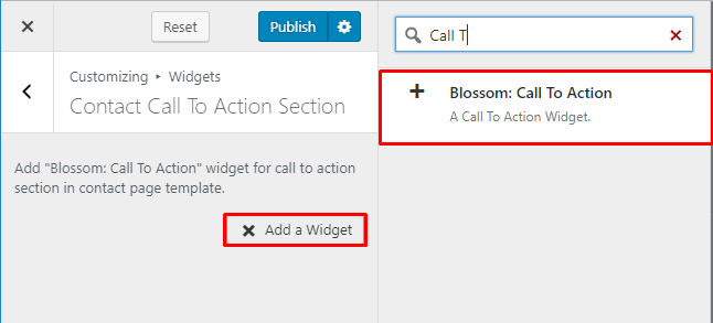 Select blossom call to action widget contact page