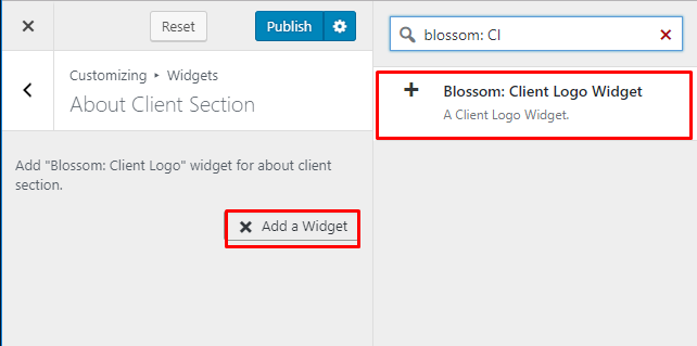 Select blossom client logo widget for about page