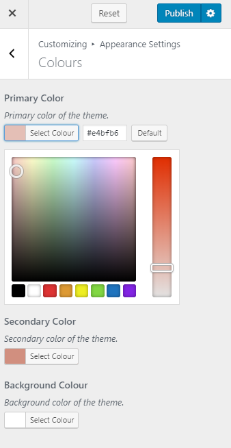Select colors for your website