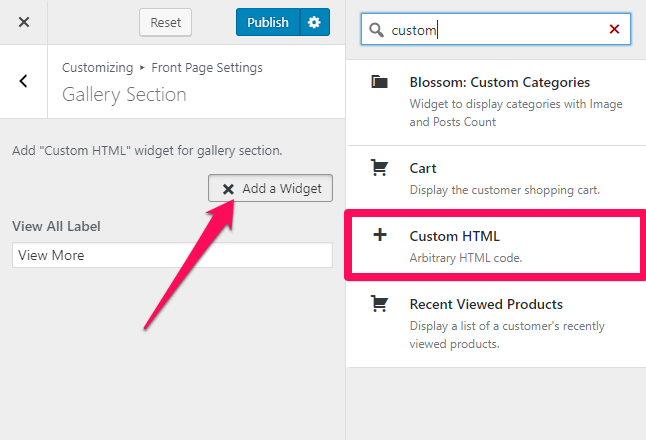 Select custom html widget