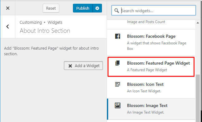 Select featured page widget