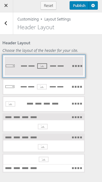 Select the header layout
