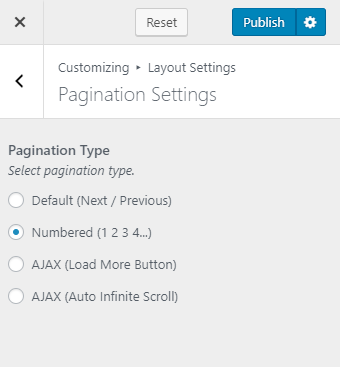 Select the pagination type