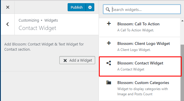 select blossom contact widgetr