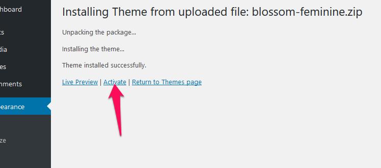 Activate blossom feminine free theme