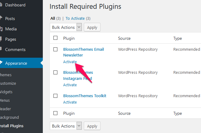 Activate recommended plugins blossom femiinine