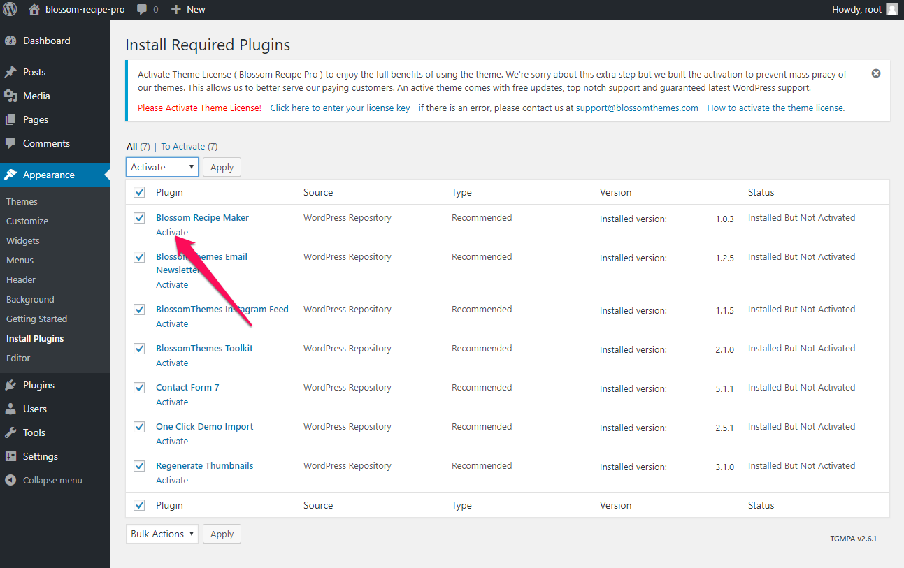 Activate recommended plugins blossom recipe pro