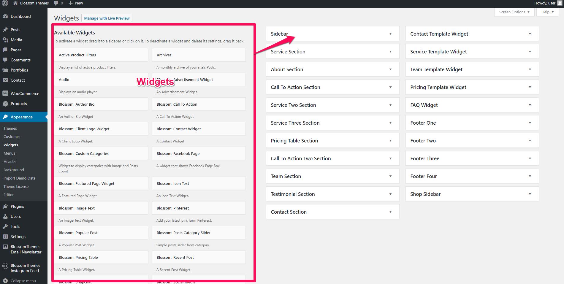 Add widgets via dashboard