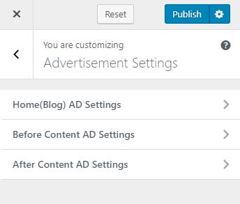 Advertisement settings
