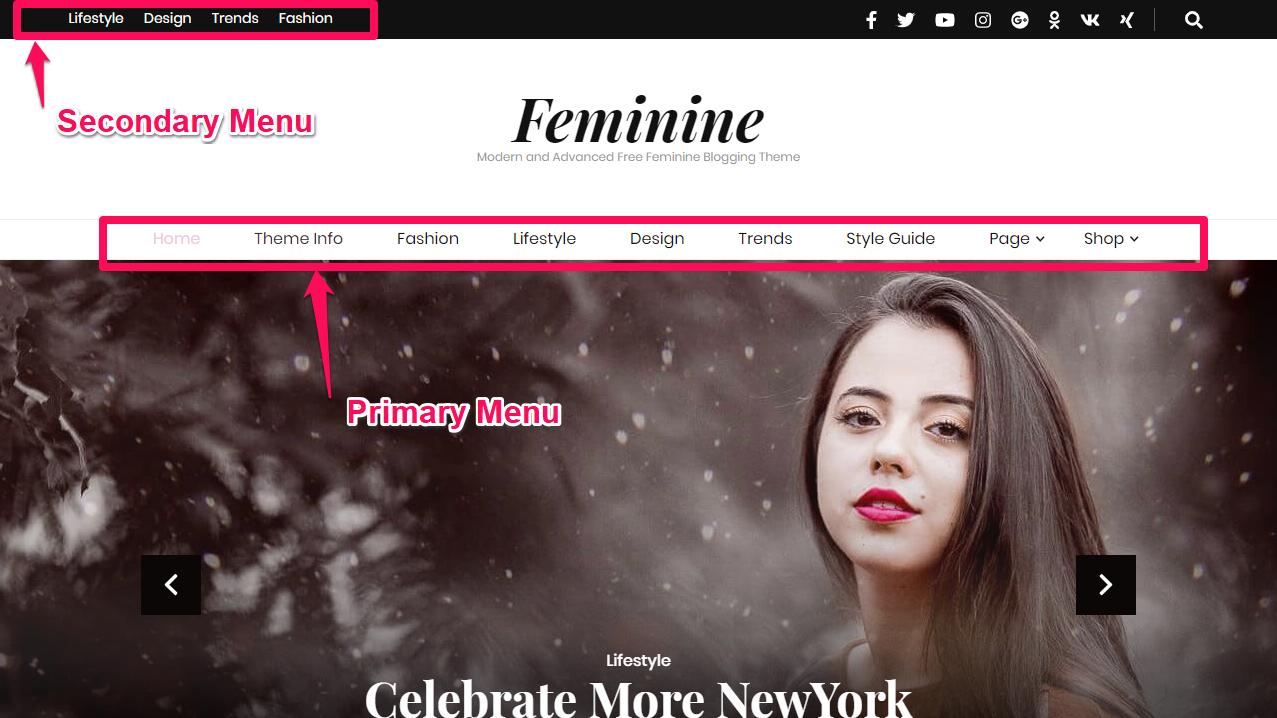 Blossom Feminine menus demo