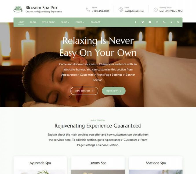 Blossom Spa Pro WordPress Theme